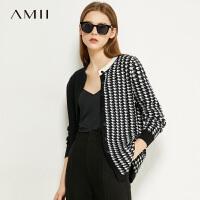【�A估�r119】Amii�O�千�B格�y毛衣�_衫2020秋新款撞色��松外搭上衣女��外套