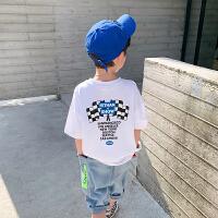 【2件2折】左西男童短袖T恤夏装2021新款 中大童弹力夏季款儿童半袖体恤