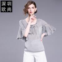 雪纺衫女夏新款夏季短袖韩版女装喇叭袖钉珠雪纺上衣小衫女 银色