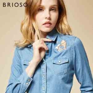 BRIOSO 女士牛仔衬衫 秋季新款韩范袖刺绣牛仔衬衣 女学生长袖上衣女休闲外套 WE20395
