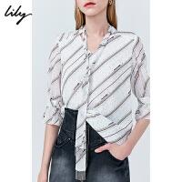Lily2019秋新款女装V领飘带宽松波点印花雪纺衫五分袖衬衫女8914