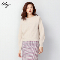 【25折到手价:179.75元】 Lily冬新款女装全羊毛撞色系带圆领宽松毛针织衫118400B8C08