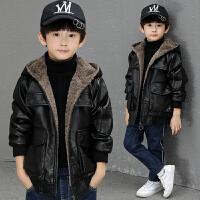 男童皮衣中长款冬装新款中大童儿童外套男孩夹克