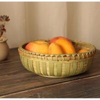 家用手工竹编盛馍放馒头筐竹篮厨房编织藤编收纳框小圆水果蔬菜框子