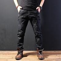 松紧腰小脚哈伦牛仔裤男宽松直筒弹力加肥加大码胖子系带长裤秋季 黑色