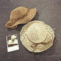 儿童草帽女童沙滩防晒遮阳帽韩版潮春夏天太阳帽手工可折叠大沿帽