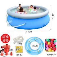 小孩游泳池家用儿童宝宝充气加厚超大号家庭户外大型水上乐园 直径183/高63cm标准暴晒款