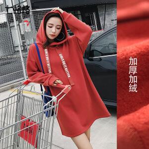 七格格红色加绒卫衣打底连衣短裙子2017新款秋冬装季女韩版显瘦加厚学生