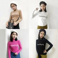 T恤打底衫女秋冬款韩版字母印花半高领修身显瘦百搭长袖套头上衣