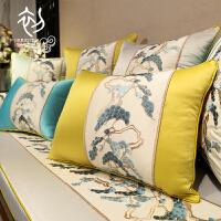 新款中式皮沙发刺绣花抱枕靠垫套红木实木古典大床头靠包含芯腰枕