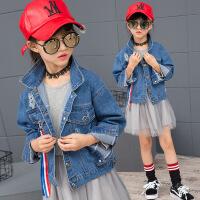 花样童依 女童牛仔外套2017秋季新款韩版童装中大童水洗牛仔外套夹克童上衣