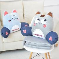 猫咪靠垫 靠枕腰枕汽车办公室沙发腰靠垫护腰椅子抱枕被子两用可爱