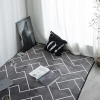 北欧潮牌简约黑白客厅茶几地毯卧室床边地垫现代长方形沙发进门垫