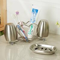 欧润哲 不锈钢心形牙刷架+榄形漱口杯对杯 浴室创意情侣洗漱套装