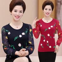 妈妈长袖打底衫40-50岁中老年女装春装雪纺上衣中年女针织小衫T恤