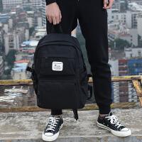 七夕礼物韩版多功能实用双肩包防水帆布学生书包青少年旅行背包休闲电脑包 黑色