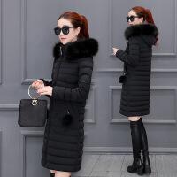 棉衣女中长款韩版冬季新款女修身连帽大毛领冬天棉袄外套