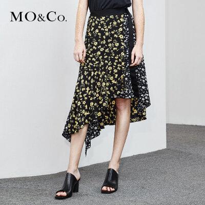 MOCO夏季新品不规则碎花拼接个性半身裙MA182SKT101 摩安珂 满399包邮 不规则剪裁 个性拼接裙摆