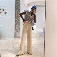 七格格毛衣马甲背心韩版女2019新款冬季套头无袖v领条纹针织衫潮