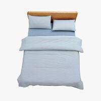 当当优品家纺 纯棉日式色织水洗棉床品 1.5米床 床笠四件套 条纹缥蓝