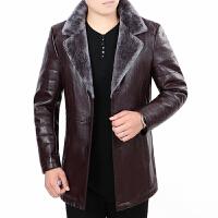 海宁真皮皮衣男加绒中年中长款皮夹克加厚冬装保暖皮外套皮毛一体