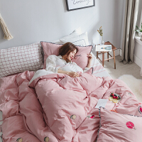 家纺全棉床上用品四件套纯棉1.8m1.5m床单被罩套床品4件套床上用品 红石榴