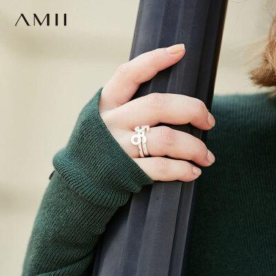 【券后预估价:47元】Amii[极简主义]率直个性立体数字戒指女冬新食指环百搭配饰 电镀哑银 立体数字 百搭指环