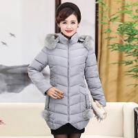 棉袄女中长款冬装大码修身外套中老年韩版加厚连帽妈妈装羽绒