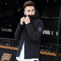 冬季男士韩版羽绒服轻薄短款青少年修身款加厚学生潮流帅气男外套 黑色 M