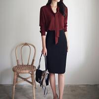 秋冬季高腰包臀裙女职业西装半身裙修身开叉时尚中长款一步裙子
