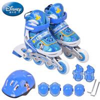 迪士尼儿童直排闪光溜冰鞋3-6-12岁男女童护具套装旱冰滑冰轮滑鞋