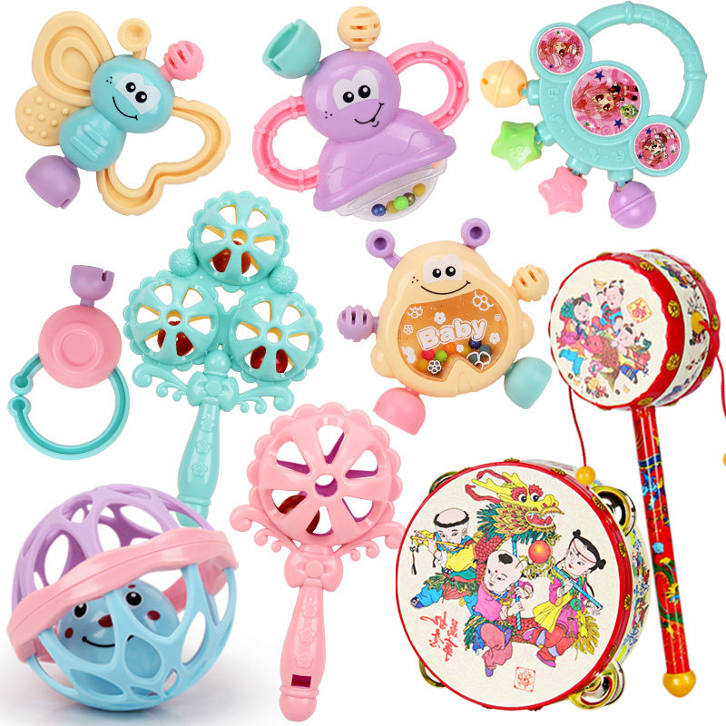 婴幼儿玩具拨浪鼓玩具0-1岁幼儿牙胶摇铃 3-6-12个月新生儿宝宝手摇铃牙胶玩具  1qk