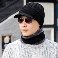 帽子男冬天韩版潮羊毛帽子加厚毛线帽保暖针织帽鸭舌帽