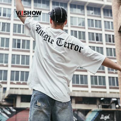 VIISHOW2018新款夏季短袖T恤男士潮流白色圆领体恤半袖套头衣服