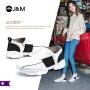【低价秒杀】jm快乐玛丽秋季新款平底套脚牛皮运动鞋个性休闲女鞋子