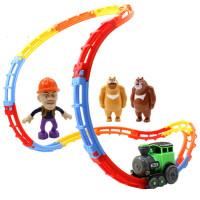 熊出没玩具车光头强熊大熊二公仔模型套装轨道电动翻滚爬墙小火车 其他