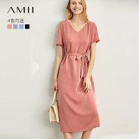 【到手价:136元】Amii极简法式气质小众连衣裙2019夏季新款露背V领配腰带雪纺裙
