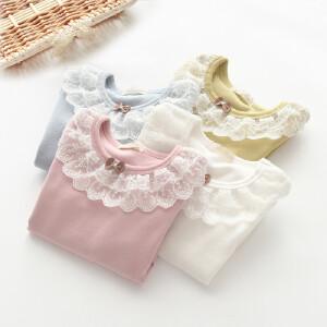 公主风女童蕾丝蝴蝶结纯棉打底T恤衫