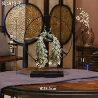 孔雀装饰摆件玄关酒柜客厅电视柜新中式树脂工艺创意民宿家居饰品