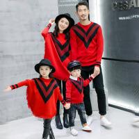 亲子装秋装全家装母子装母女装一家三口四口家庭装毛衣2017 红色