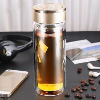 礼品玻璃杯水杯男学生双层便携随手杯定制大容量过滤泡茶杯女杯子 金色 15-1(300ML)