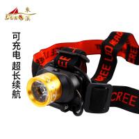 LED灯头灯夜钓灯超亮钓鱼灯矿灯头戴式手电筒捕鱼灯渔具配件 V42型可充电头灯颜色随机发货