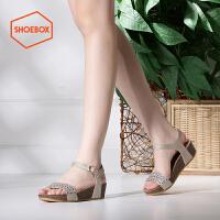 达芙妮旗下shoebox鞋柜夏新款韩版厚底坡跟凉鞋中跟平底女鞋1116303014