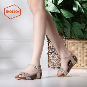 达芙妮集团 鞋柜夏新款韩版厚底坡跟凉鞋中跟平底女鞋1116303014