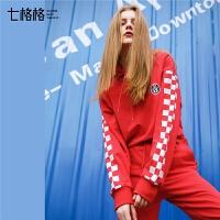 2019春装新款韩版时尚个性原宿风chic长袖宽松连帽衫红色卫衣女bf