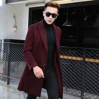 毛呢大衣男中长款冬季加厚韩版修身羊毛呢子外套商务长款过膝风衣 酒红色常规款 M