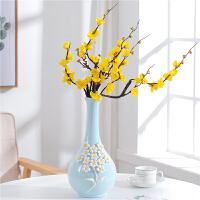 家居酒柜装饰品摆件客厅电视柜创意装饰插花花瓶摆设现代简约 浅蓝色 XQ-A款花瓶 配黄腊梅1支