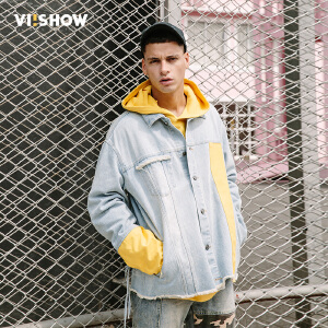 VIISHOW2018春季新款夹克男 撞色拼接潮流学生外套 男士牛仔夹克