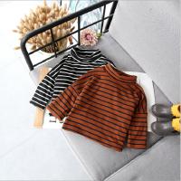 女童加绒打底衫2017季新款高领条纹蝙蝠袖宽松休闲上衣潮气质绒衫