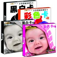 正版 小笨熊视觉激发卡 套装全4册 婴儿颜色识别卡 0-3岁宝宝颜色视觉激发卡片 早教闪卡认知卡黑白卡+彩色卡